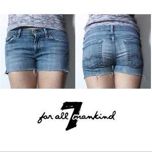 7FAM Light Blue Low Rise Cut Off Jean Shorts 28